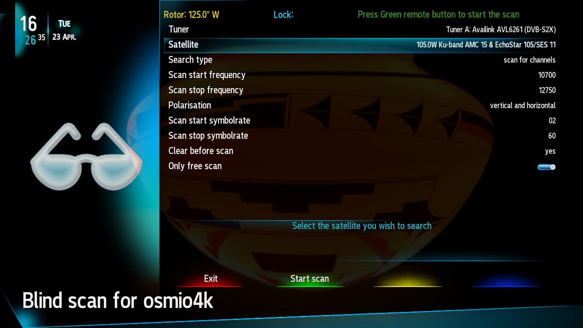 Edision - OS mio 4k - motor setup for blind scan